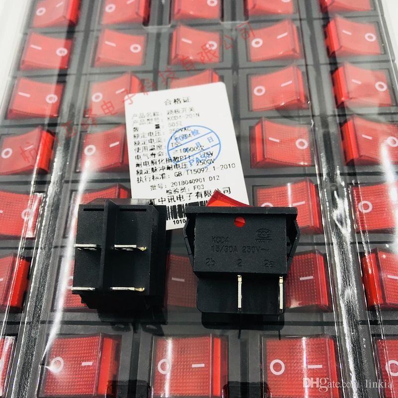 Тумблер KCD4-201N красного с салатовым с легким 4 фута два файлом 15 / 30Ы 25