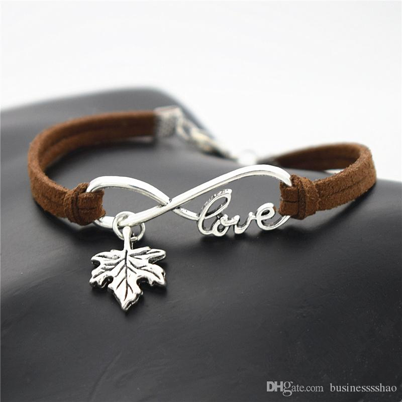 Casual Dark Brown Leather Suede Bracelets for Men Women Customizable Engraving Infinity Love Plant Tree Leaves Maple Leaf Bangles Pulseira