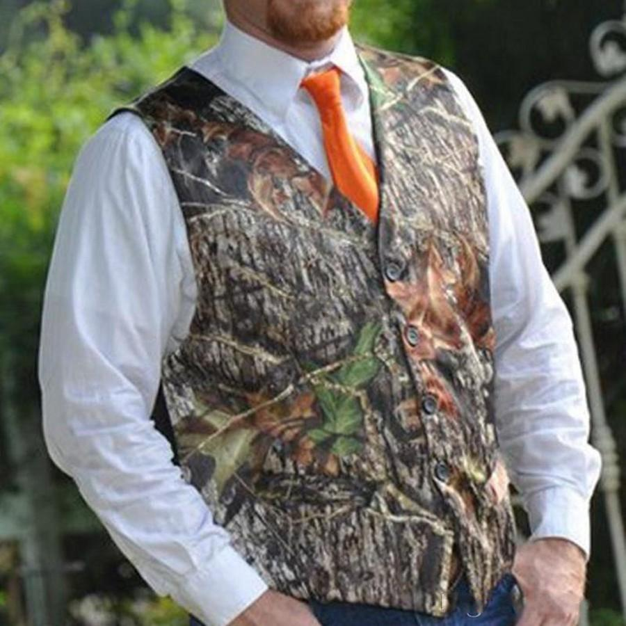 Casual Camo Groom Vests For Country Wedding Camouflage Slim Fit Mens Attire 2 piece set (Vest+Tie Or Bow ) Custom Made Plus Size