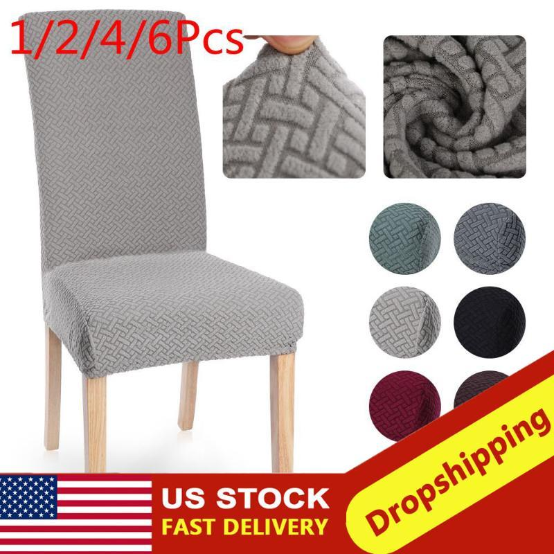 1/2/4/6Pc Dining Chair Cover Spandex Jacquard Kitchen Dining Room Chair Slipcover Protector Case for Seat Elastic Stretch
