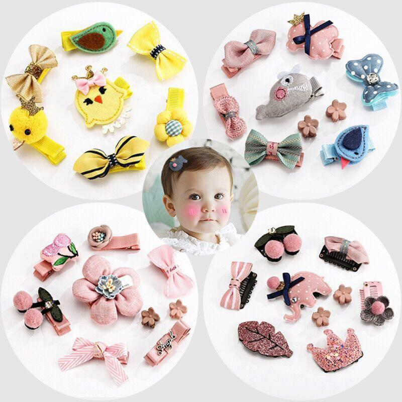 9pcs / Set Princess Headwear Set Girl Hair Accessories Ribbon Bow Hairpin Crown Headband With Box Gift Korean Version Clip