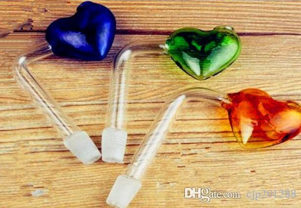 Accessoires de narguilé [pan] coeur droit En gros bongs en verre Brûleur à mazout Tuyaux d'eau en verre Plateaux non fumeur