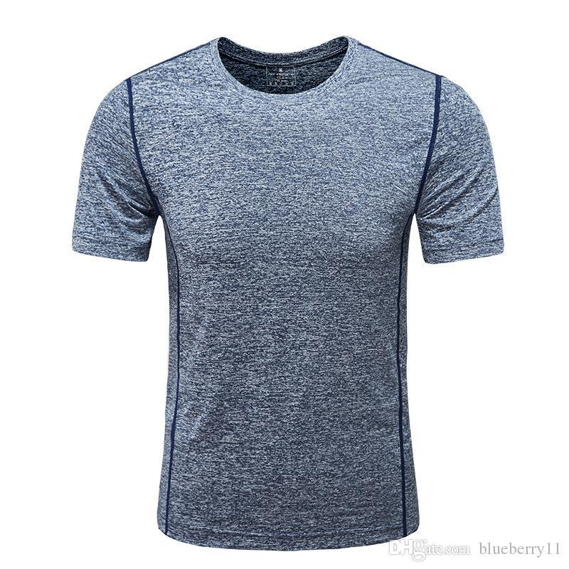 Мужские футболки с короткими рукавами Футболка Slim Color Color Sports Бег Фитнес Быстрые сушильные круглые шеи Trend Одежда рубашка Haleved 2021