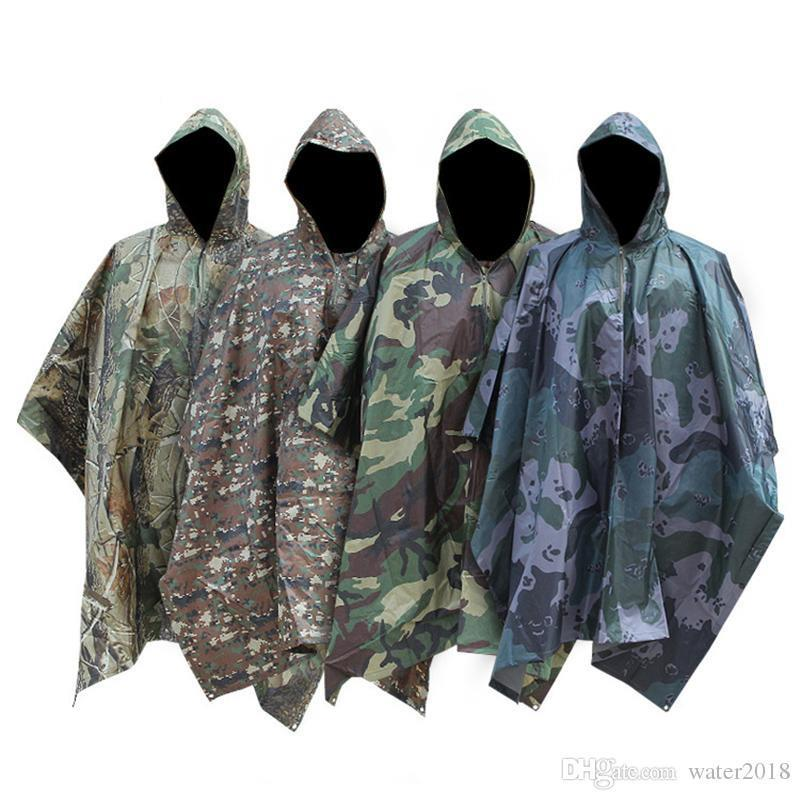 Multifunktionale Militär Impermeable Camo Raincoat Wasserdichte Regen-Mantel-Männer Frauen Camping Fischen Motorrad Regen-Poncho Freies DHL