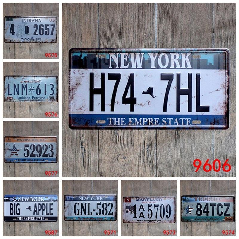 레트로 플라크 회화 자동차 금속 번호판 빈티지 홈 인테리어 주석 로그인 바 차고 금속 장식 로그인 아트