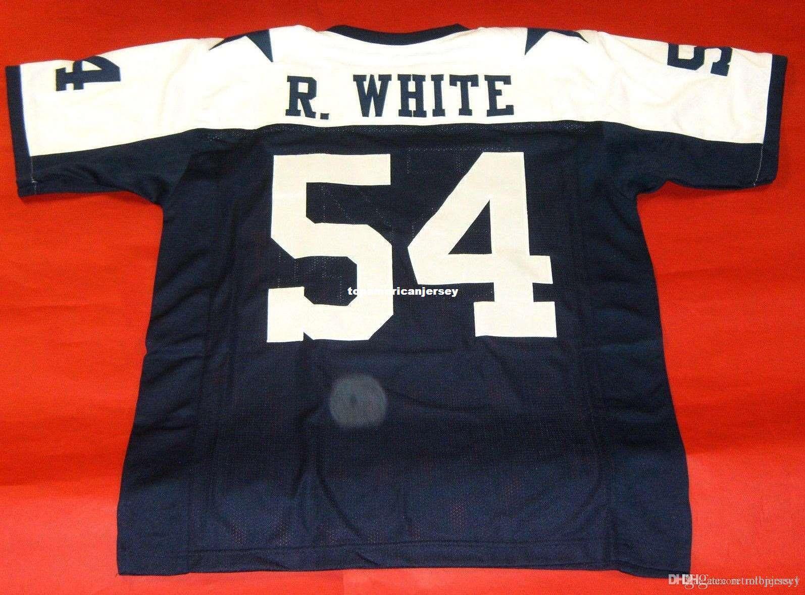 Дешевые ретро # 54 RANDY WHITE CUSTOM Top S-5XL, 6XL MITCHELL НСС Джерси Буле Mens Строчка Top S-5XL, 6XL трикотажные изделия футбола Идущие