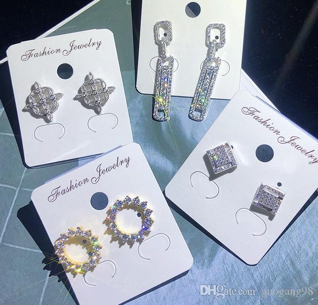 Venta al por mayor 5 pares / lote de alta calidad precio bajo noble diamante cristal circón más estilo aleatorio de mujer pendientes 15qwee