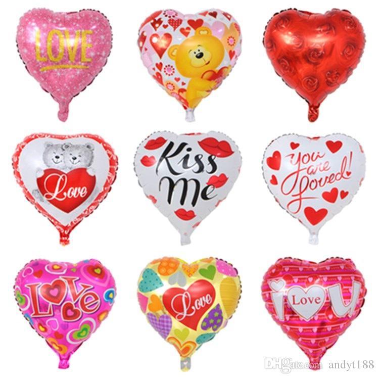 18 polegadas mistos balões casamento balão em forma de coração Eu te amo férias balões de festa decoração balão filme de alumínio T2I5002