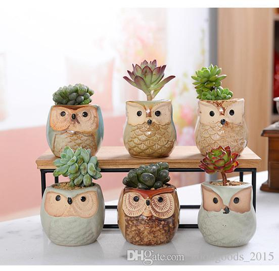 Creative Ceramic Owl Shape Flower Pots 2018 New Ceramic Planter Desk Flower Pot Cute Design Succulent Planter Pot