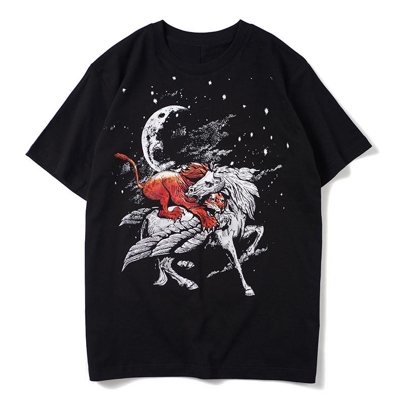 Hommes T-shirt imprimé noir d'été à manches courtes Hommes Femmes styliste T-shirt décontracté Coton T
