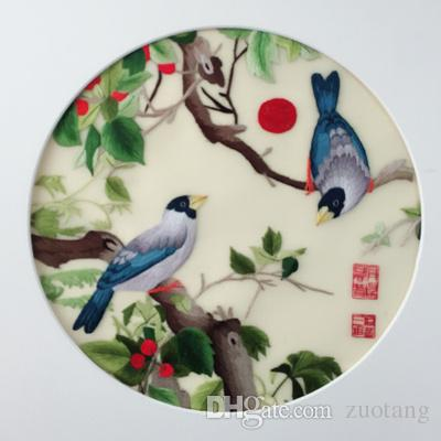 Ethnic handwork Suzhou Embroidery Silk thread Double-side Pattern Round 20cm use For Bag Clothing Hand Fan Painting Decor Ornaments etc