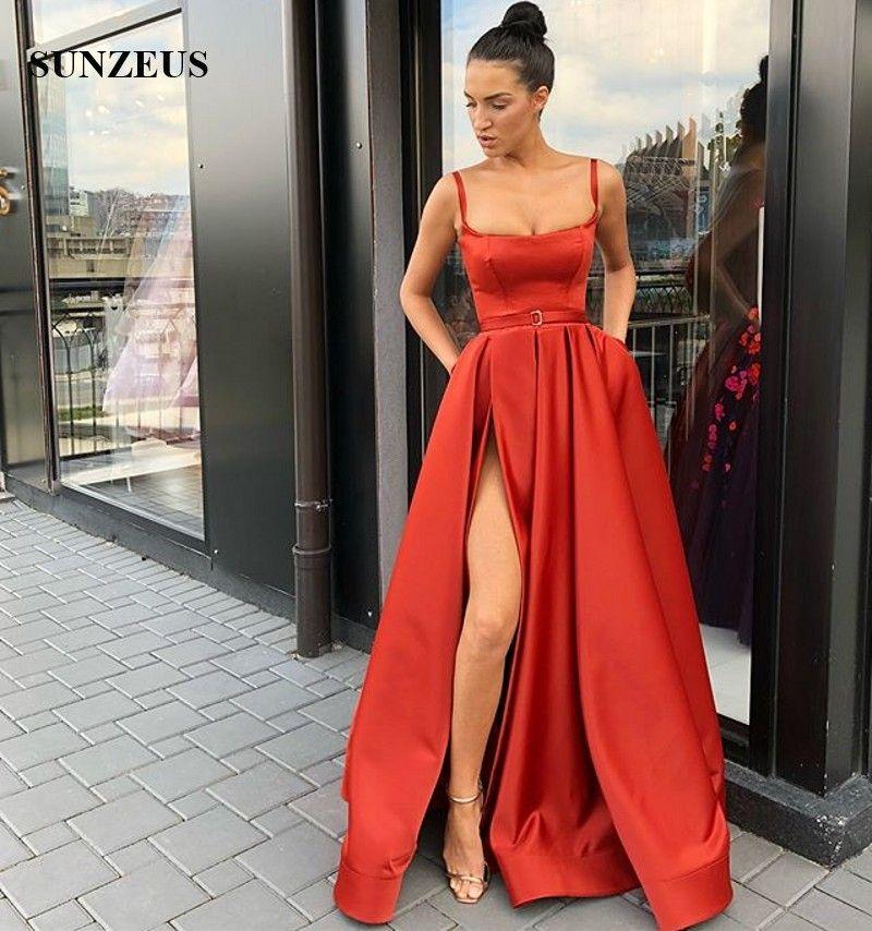 Compre Vestidos De Noche Rojos Largos Satinados Vestidos Formales Mujeres Una Línea Longitud Del Piso Corte Lateral Vestidos De Fiesta Simple Vestido