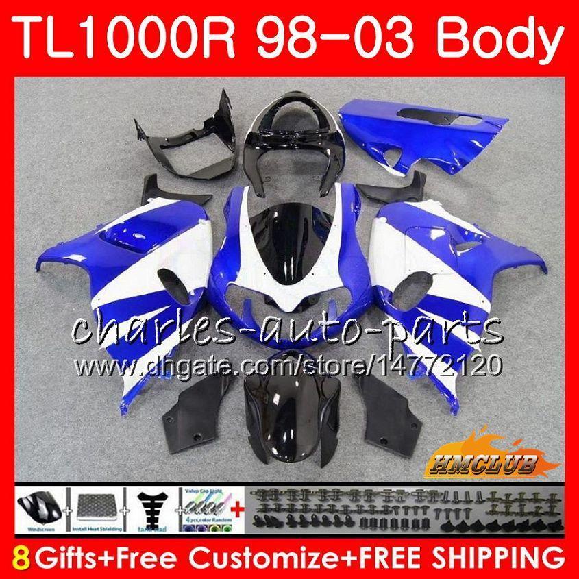 Cuerpos para SUZUKI SRAD TL 1000 R TL1000R 98 99 00 01 02 03 19HC.28 TL1000 R TL 1000R 1998 1999 2000 2001 2002 2003 Carenado azul blanco nuevo Kit