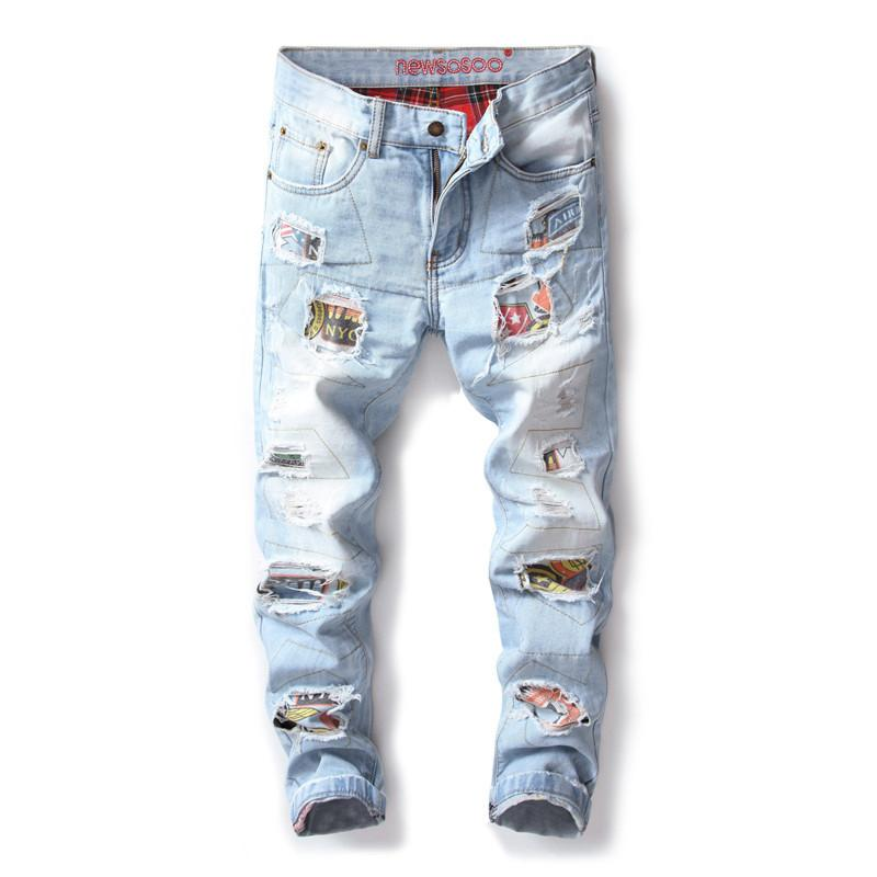 Mens Fashion Ripped Jeans Pants With Patches Nolvety Distressed Destroyed Patchwork Denim Trousers Washed Club Wear
