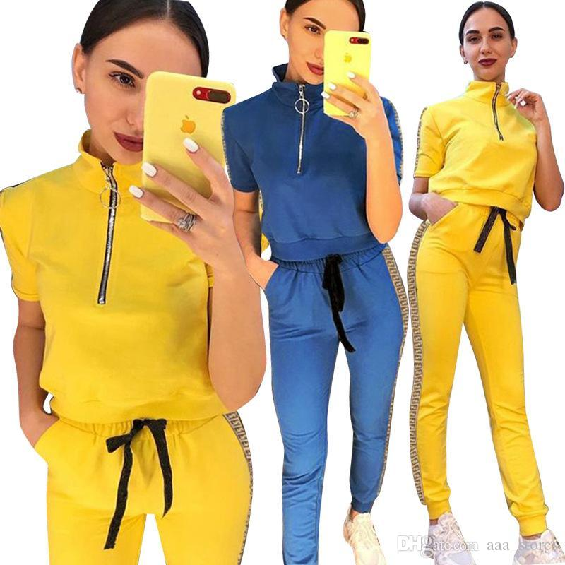 Solido Colore Lettera Side 2 pezzi Outfit Tuta estive casual donna dolcevita manica corta zip top + pantaloni con coulisse Freeshipping