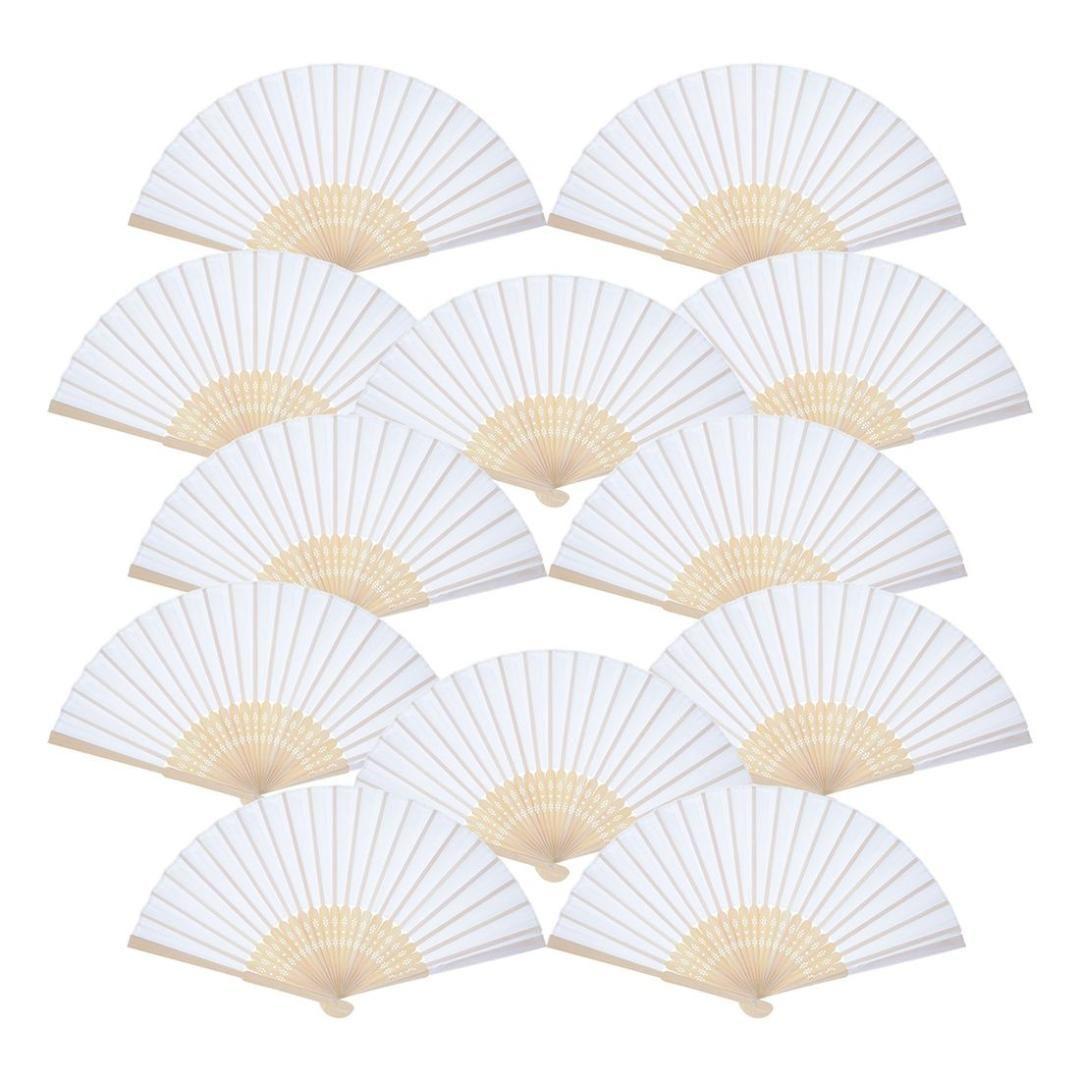 Il la cosa migliore Ventilatore tenuto in mano di 12 pacchetti Fan di carta bianca Ventilatori pieganti di bambù Ventaglio piegato tenuto in mano per il regalo di nozze della chiesa, Favori di partito DIY