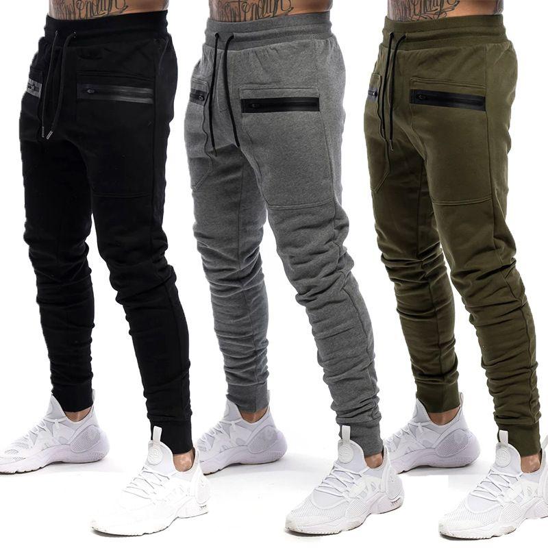Hombres pantalones color sólido Slim Fit con cordón Bolsillos gimnasio de fitness Sendero deporte ocasional de los pantalones del lápiz Pantalón negro / gris / verde del ejército