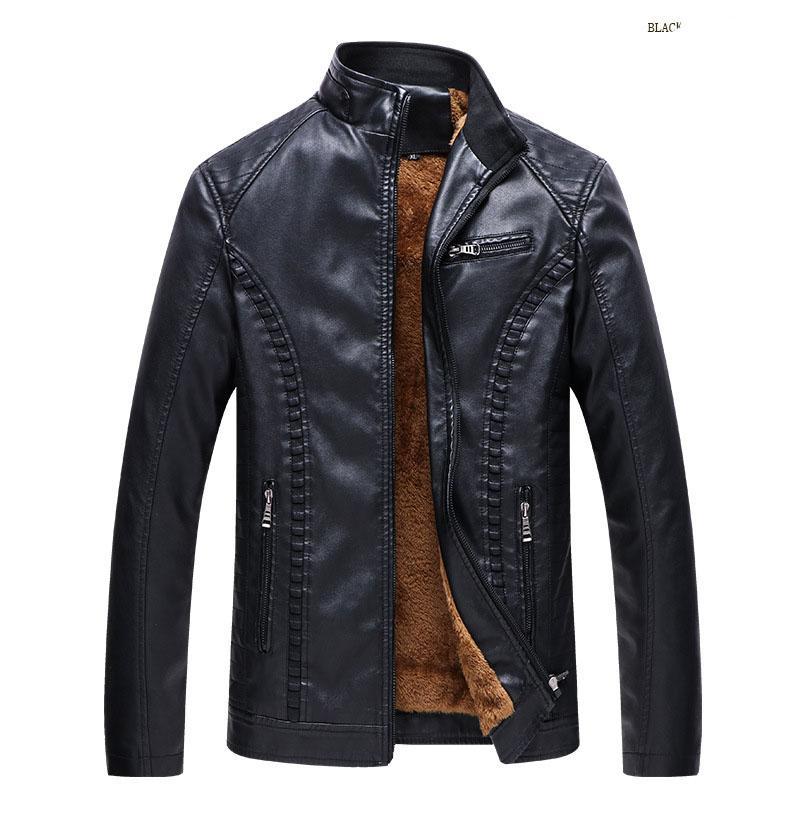 mens leather Jacket Fashion clothing motorcycle leathe Slim jacket mens designer jackets Plus velvet warm leather PU leather jacket