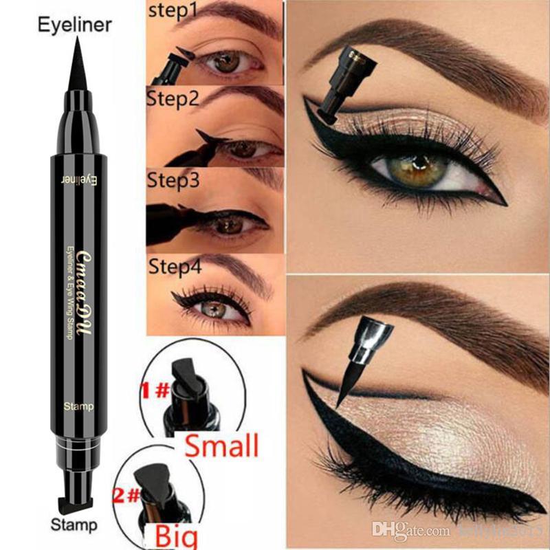 CmaaDu Likit Eyeliner Pencil Mühür Kalem Damga Eye liner Su geçirmez Siyah Çift Kafa Kanat Pullar Eyeliner Kozmetik Makyaj Aracı