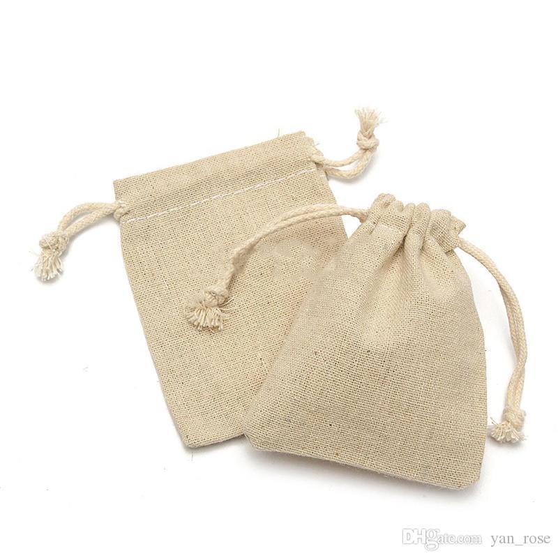 القطن الحقائب حقيبة صغيرة الكتان الطبيعي الحقيبة الرباط الخيش الجوت كيس مع الرباط كيس التغليف المجوهرات الحقائب 1000 قطع الشحن بواسطة dhl