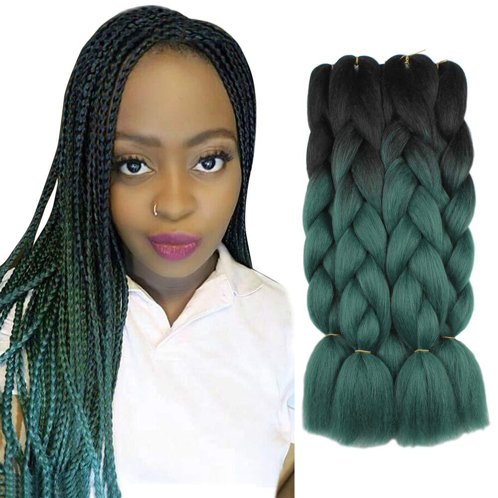 Hot! 5 Pieces 2Tone Ombre Braiding Hair Crochet Braids Hair Synthetic Hair Extensions 24 Inch Black/Dark Green Jumbo Box Braids for Women