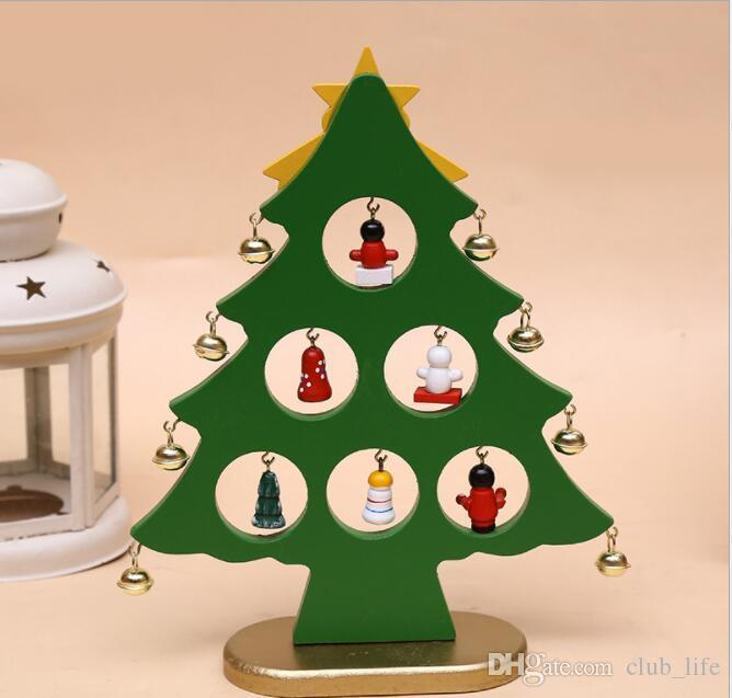DIY Cartoon Wooden Artificial Christmas Tree Decoration Christmas Gift Ornament Table Desk Party Decoration Fast Shipping