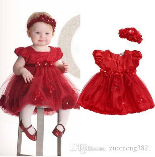 Fiore Neonato Neonate Vestito rosso Tulle Principessa Baby Party Abiti da sposa di compleanno per le ragazze Christmas Baby Dress