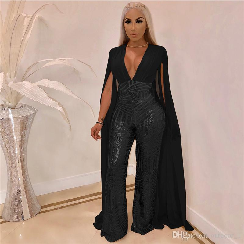 Women plus size sexy sequins Jumpsuits&rompers backless capris night club loose pants S-3XL fall winter casual clothes overalls sell 2564