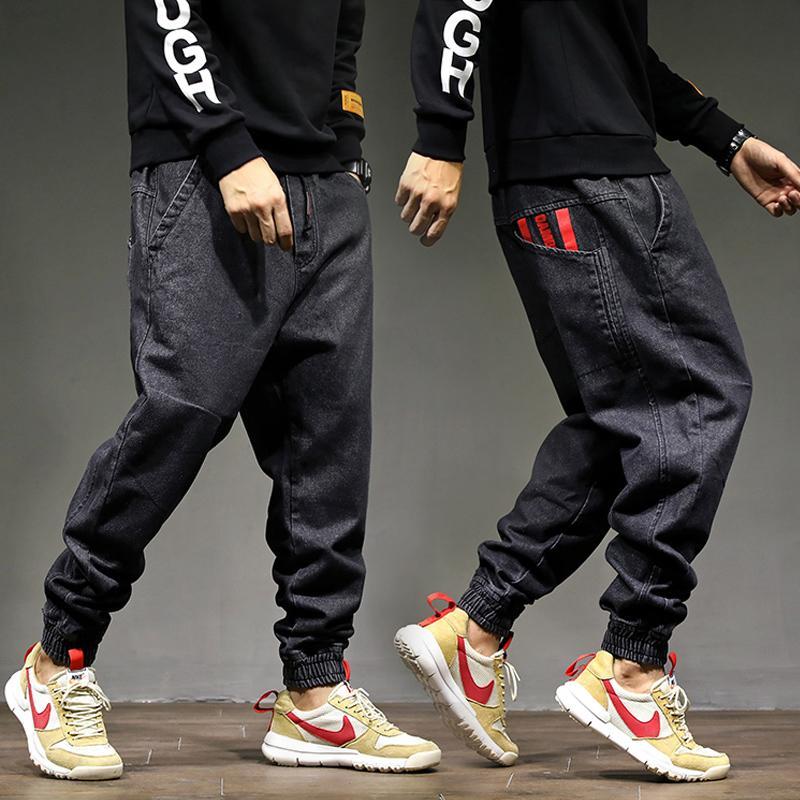 High Street Moda Erkekler Jogger Jeans Siyah Renk Boyut 28-42 Üst Kalite Gevşek Fit Kargo Pantolon Harem Pantolon Hip Hop Jeans Erkekler