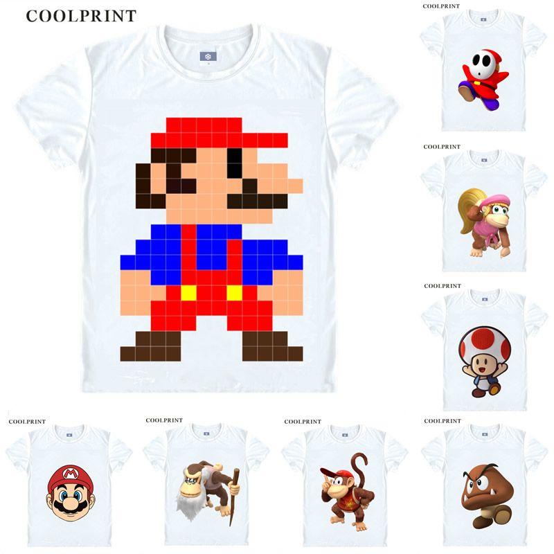 Super Mario Bros Luigi Shy Guy Odyssey Donkey Kong Anime Cosplay Custom Shirt Tank Top Short Sleeves Vintage Printed Fashion