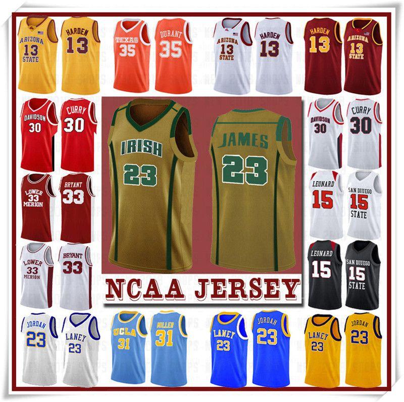 NCCA Jersey Kawhi Leonard James Iverson Männer 23 LeBron Durant 13 Harden Curry Stephen College Basketball Jerseys Russell Westbrook Men3