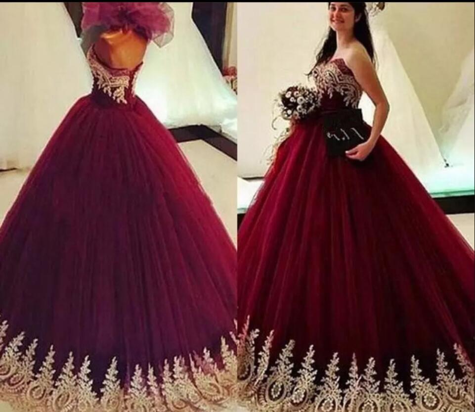 2019 apliques de oro baratos Borgoña Quinceañera vestidos de bolas Vestidos de 15 ANOS PAGEANT Vestidos de fiesta Tulle Sweet 16 Vestidos de fiesta