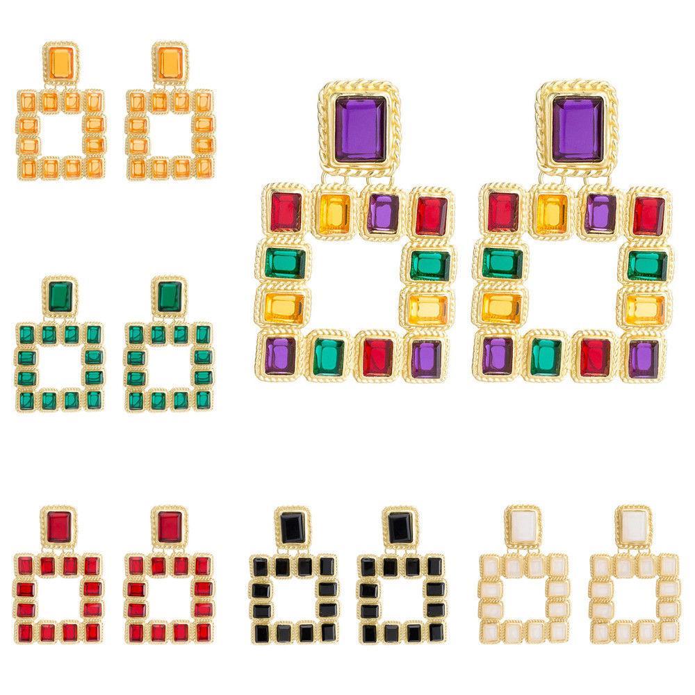 Fashion Women Big Geometric Square MultiColor Crystal Rhinestone Pendant Dangle Drop Statement Ear Stud Earring Jewelry