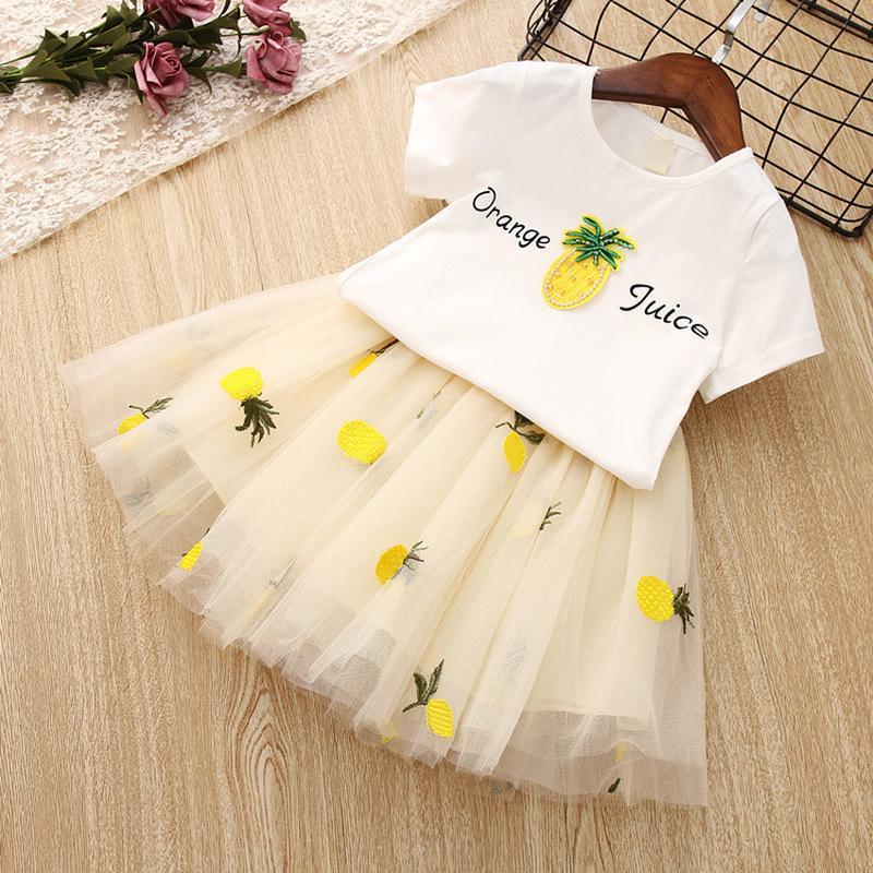 Девушки комплект одежды малыш Принцесса наряды летние Детская одежда для девочки белая футболка пачка юбки 2 шт. детские костюмы ананас костюм