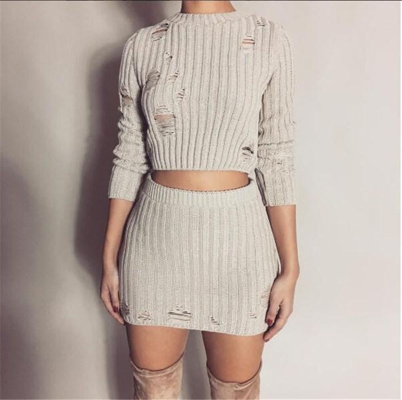 المرأة مثير الخريف محبوك قمم وفستان صغير 2 قطعة مجموعة أزياء الجوف خارج تنورة قصيرة BODYCON وسترة تعيين اثنين من قطعة