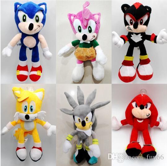 25cm Sonic Plush Toys Sonic the Hedgehog Stuffed Animals Dolls Hedgehog Sonic Knuckles the Echidna Stuffed Animals Plush Toys Kids Gift