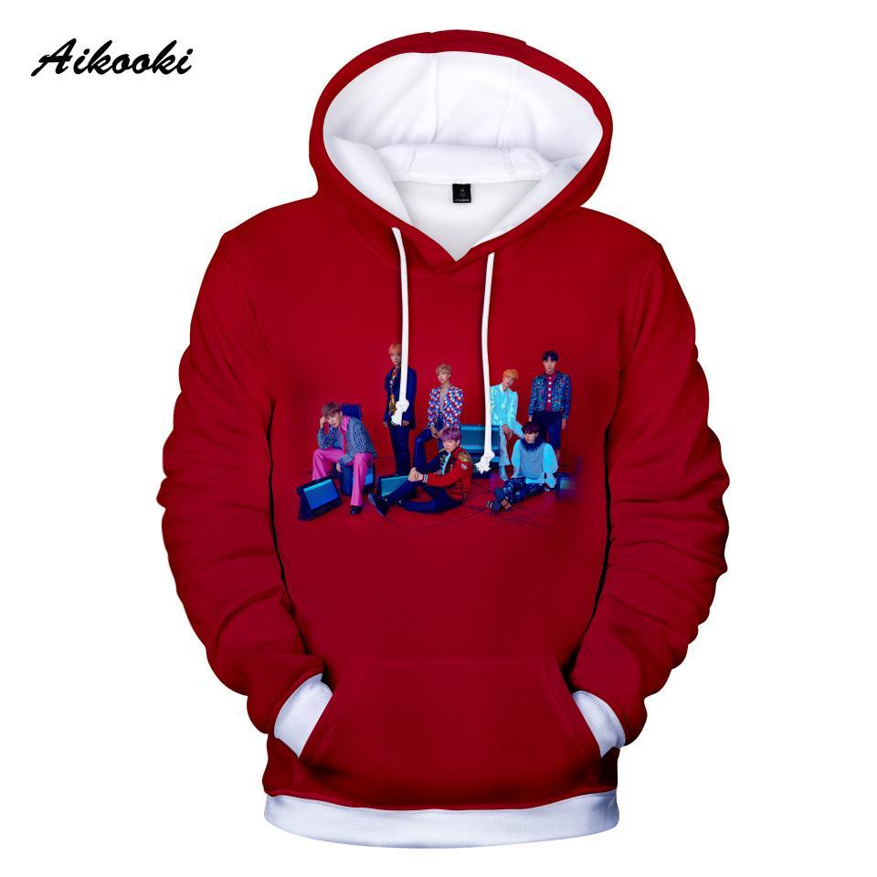 Aikooki Kpop Männer / Frauen Hoodies Sweatshirt neue Art und Weise Mitglied Druck 3D-Hip-Hop-Lounge mit Kapuze Sweatshirts