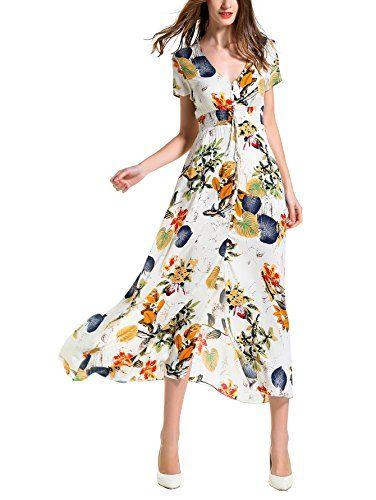 Пляжное платье макси с коротким рукавом и цветочным принтом Angelady Bohemian Women