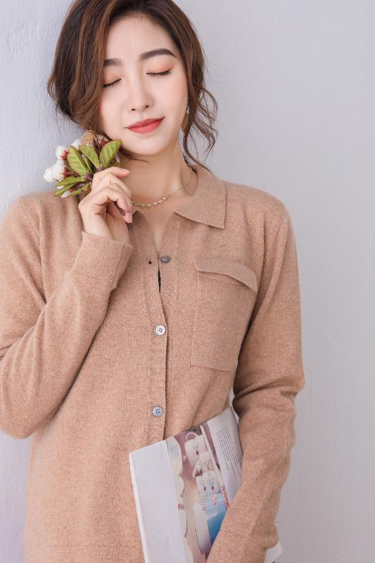 Kadınlar ceketler% 100 Yün Örgü Hırka 2020 İlkbahar Yeni Moda Gömlek yaka Uzun Kollu Kazak Bayanlar Yün Süveter