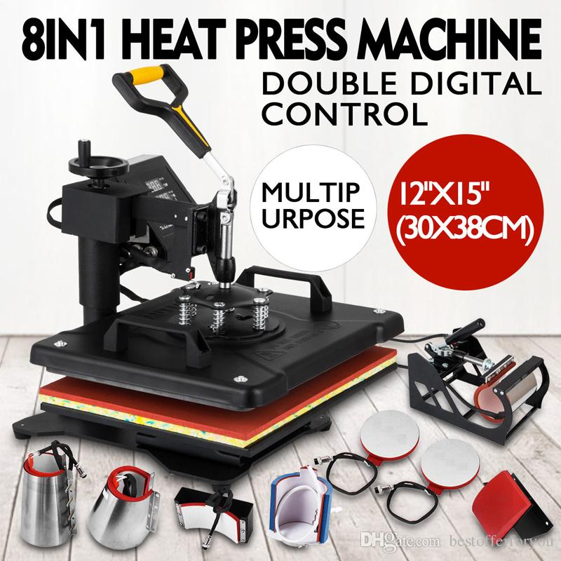 New Slide Out Design Double Display Sublimation Mug Plate Cap T-shirt Printing Heat Press Machine 8 in 1 Heat Transfer Machine