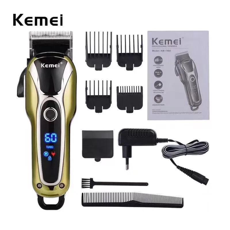 KM-1990 Kemei Мощный электрический машинка для стрижки волос Профессиональные волос резак мужчины стрижки волос триммер аккумуляторная Barber инструмент TtTfZ