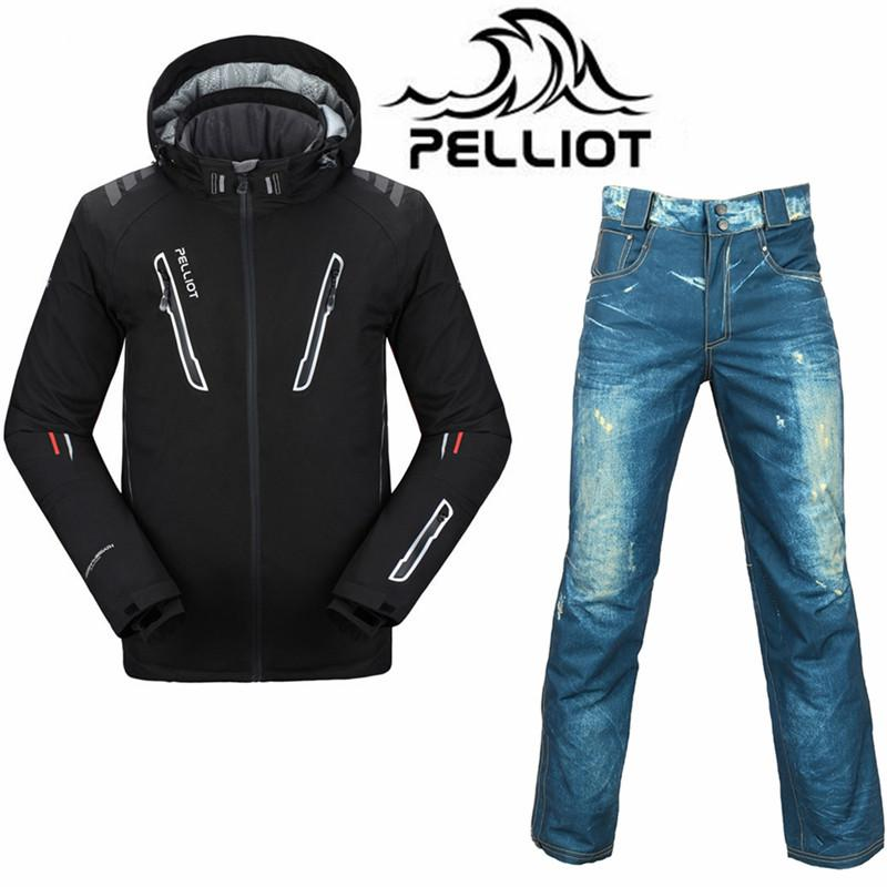 Professional Pelliot Ski Suit Men Waterproof Snowboard Jacket Ski Pants Super Warm Breathable Snowboarding Suits Outdoor Skiing