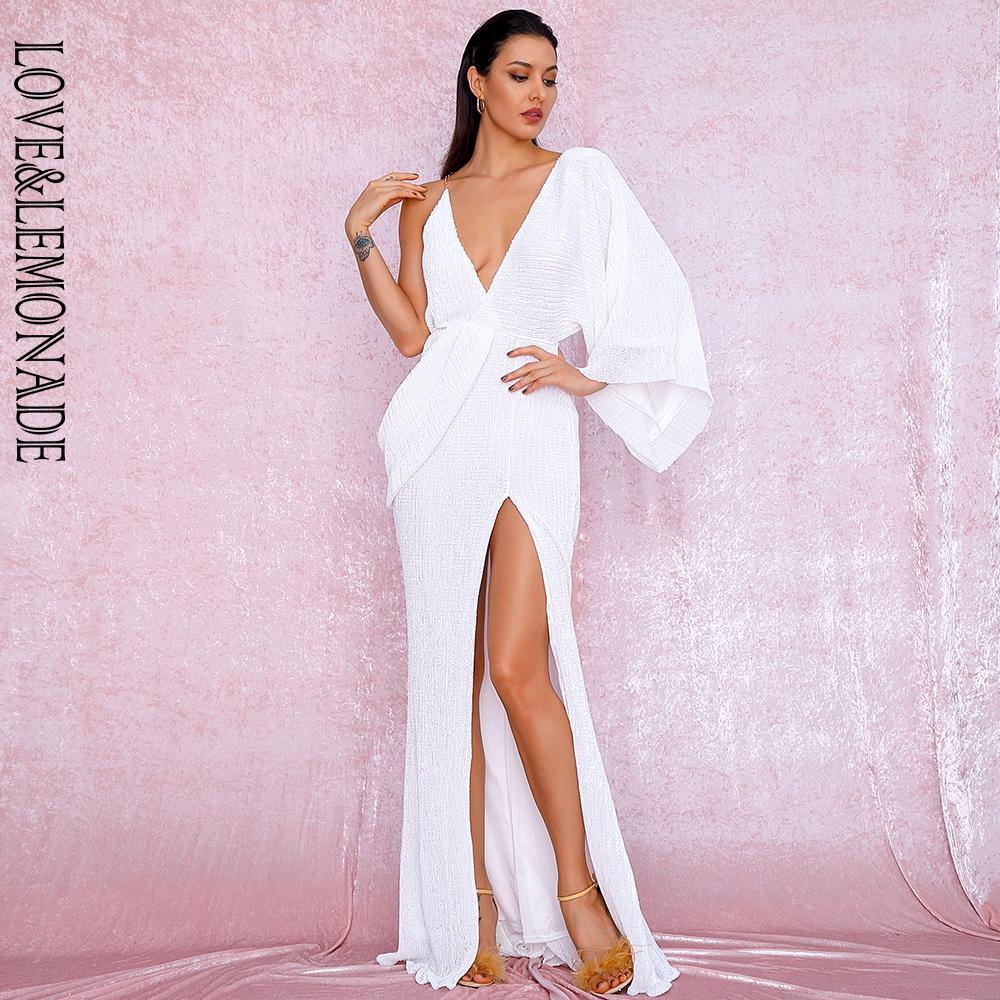 Maxi vestito sexy LOVELEMONADE Bianco V-Collo singolo manica paillettes Split partito LM81848 Autunno / Inverno Y200120