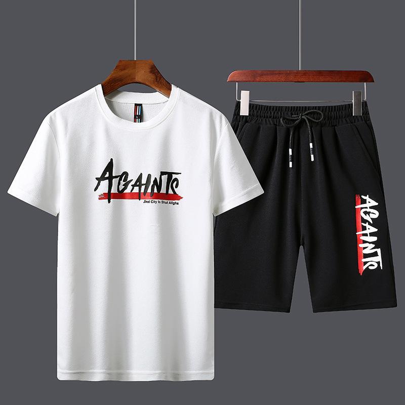 Roupas de verão agasalho Sportswear Two Piece homens Set camiseta Shorts Marca Pista roupa ternos masculino Sweatsuit Esportes Marido T200604