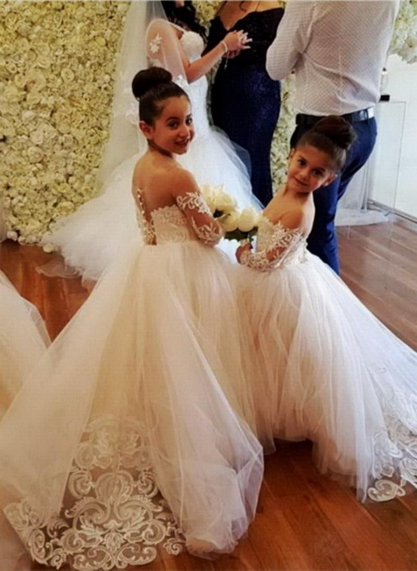 Full Lace Flower Girl Dresses for Weddings Jewel Neckline Long Sleeves Custom Made Girls Pageant Gowns A-line Kid Birthday Party Dress