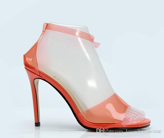 Charm2019 Terbiyeli Kadınlar PVC Sandalet Ünlü Ayakkabı Turuncu Renk Yüksek Topuklu Düğün Ayakkabı Ince Topuk Bayanlar Parti PVC Ayakkabı Gladyatör Sandalet