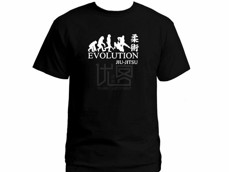 Джиу-джитсу эволюция Мариал искусства черный мужской графический новый стиль футболки натуральный хлопок O-образным вырезом футболка