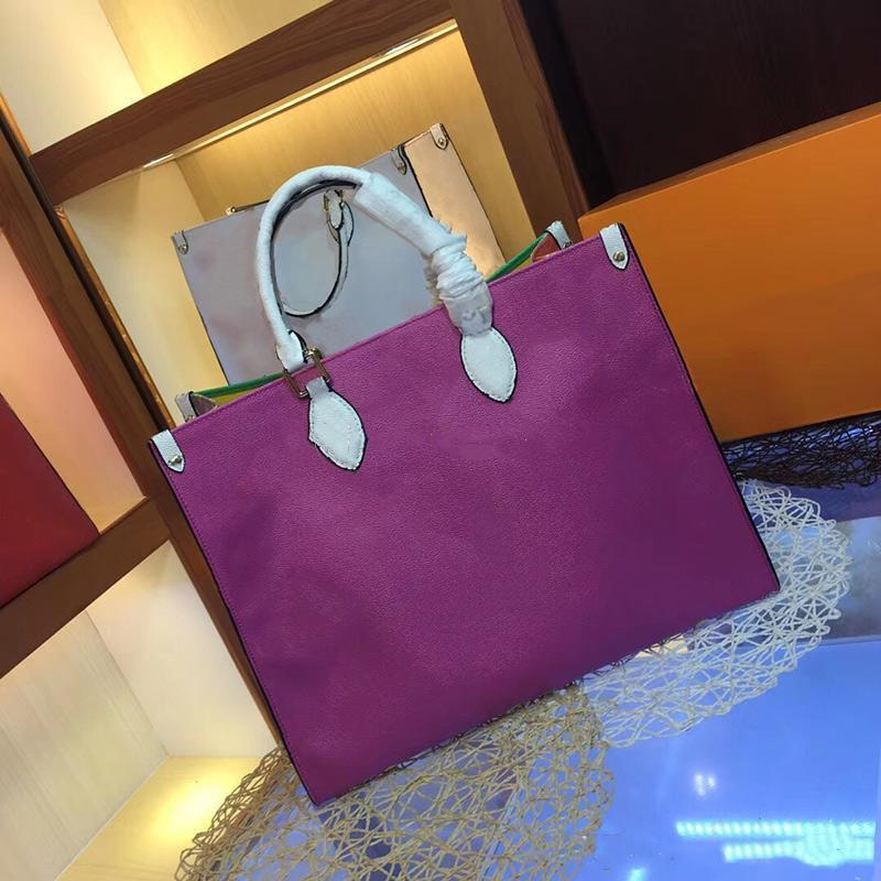 Designer Mulheres do arco-íris bolsas de moda Hot Novas grandes sacos alça de ombro Bolsas Top Quality L Carta de couro genuíno Crossbody Tote Bag 41cm-