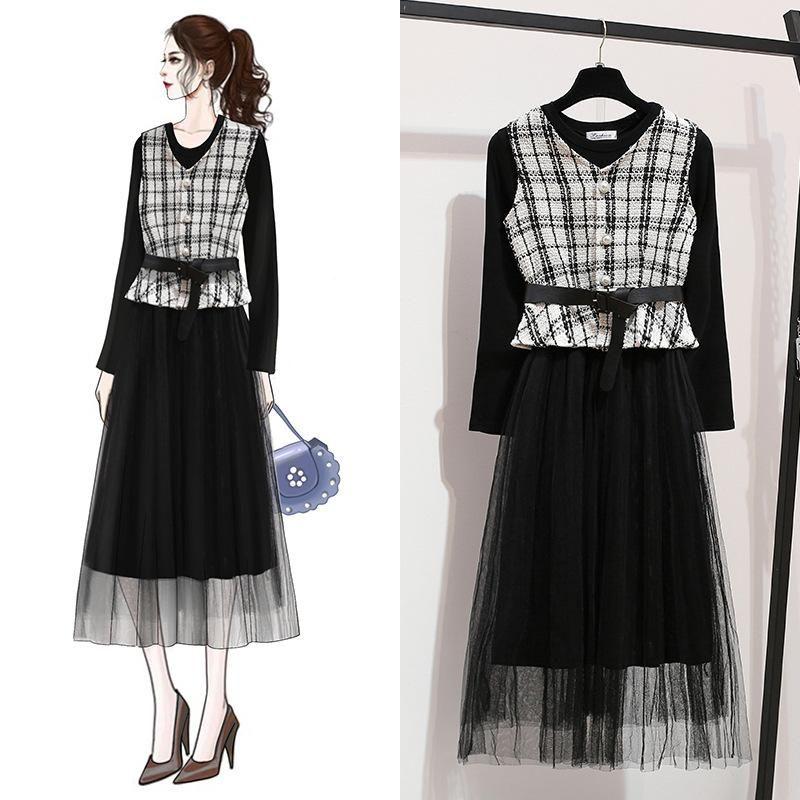 ICHOIX women 2 piece set black Mesh long dress plaid vest Korean outfits elegant formal party dress 2pcs casual winter