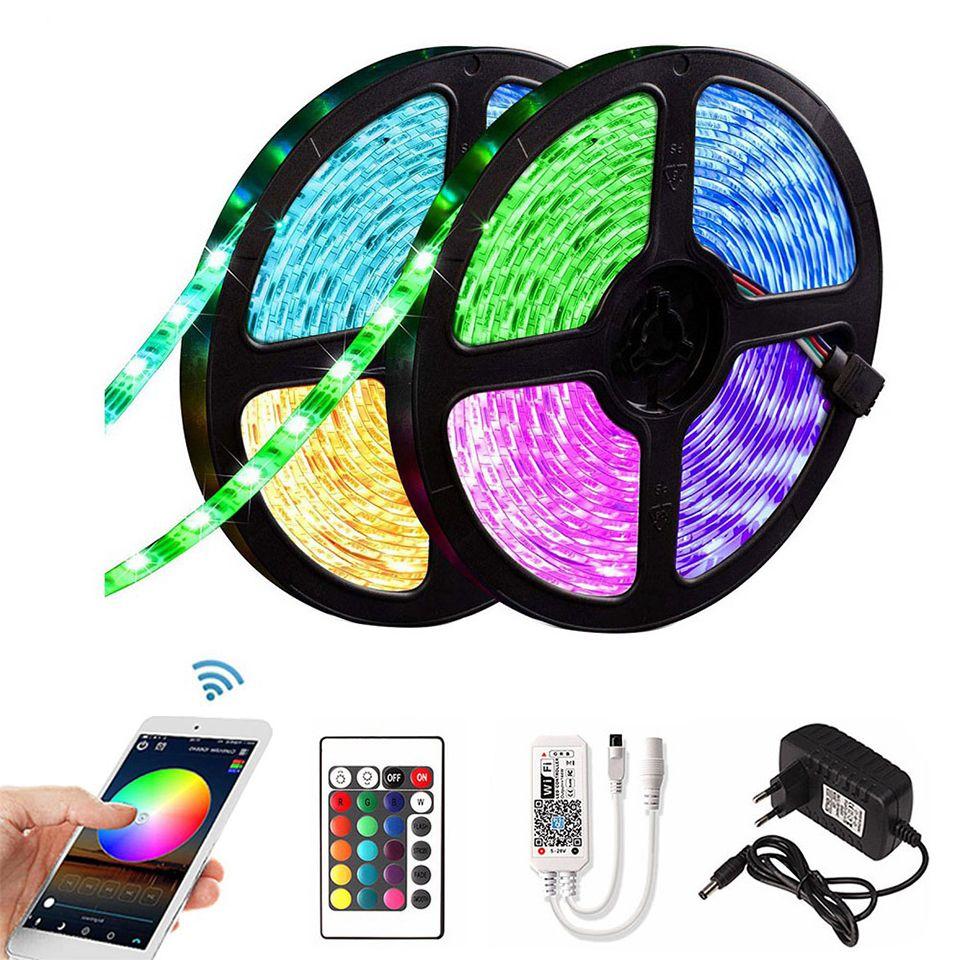 5m 10m 15m RGB LED Faixa de 2835 DC 12V impermeável Tape WiFi flexível Diode fita Fita Tira LED tiras com + adaptador remoto